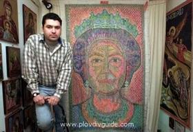 BG Künstler im Guinness – Buch der Rekorde mit dem größten Bild aus Briefmarken